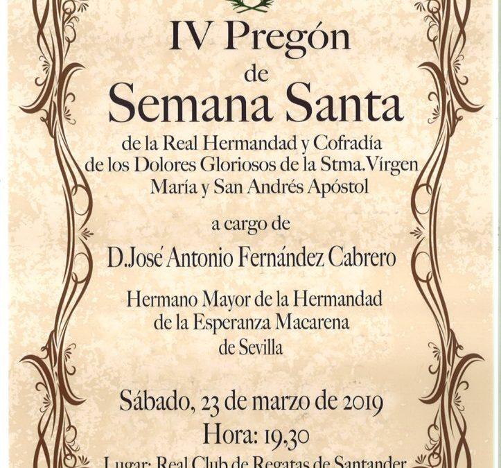 IV Pregón de Semana Santa 2019